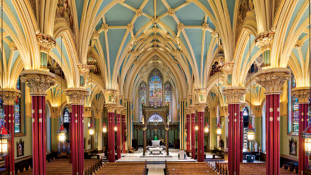 The interior paint scheme for the Cathedral of St. Patrick in Norwich, CT, has been updated with new paint, murals, gilding and polychrome done by John Canning Studios. All photos: Robert Benson