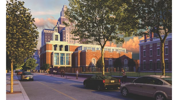 "The proposed design by Robert A.M. Stern Architects for the new Museum of the American Revolution uses restrained Classicism to achieve compatibility with its location in Philadelphia's historic Independence Hall district. Modernist critics lament that the design isn't ""revolutionary."" Image: Robert A.M. Stern Architects"