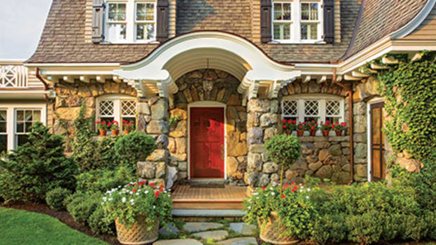 A strikingly bold scarlet door