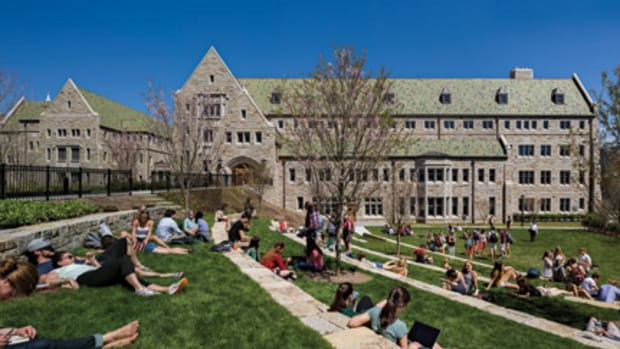 The outdoor amphitheater on the west side of Stokes Hall becomes a gathering place for students on warm afternoons.