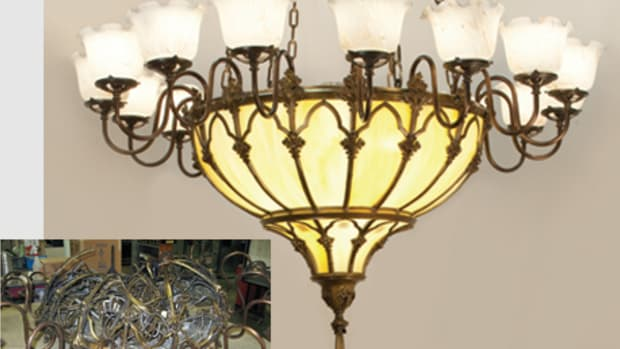 Crenshaw restored a badly damaged chandelier for the Evangelical Lutheran church in Frederick, MD. The 5-ft.-dia. chandelier had fallen to the floor. It features a custom clumped amber glass bowl, hand-blown French wide fluted glass shades and incandescent lighting.