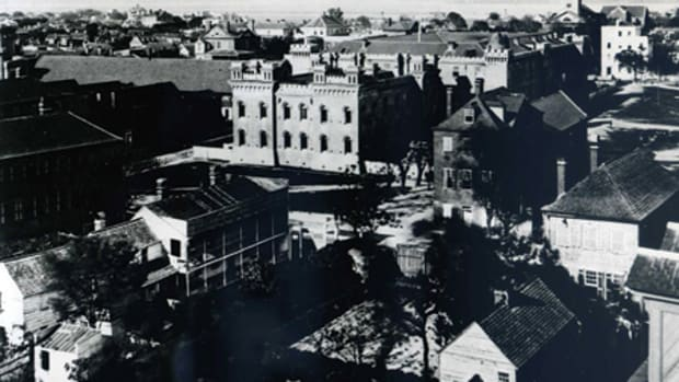 This 1865 photo shows The Citadel building four years before the original west wing burned down and 22 years before the new police station was built on the west edge of the property. Photo: Margaretta Childs Archive, Historic Charleston Foundation