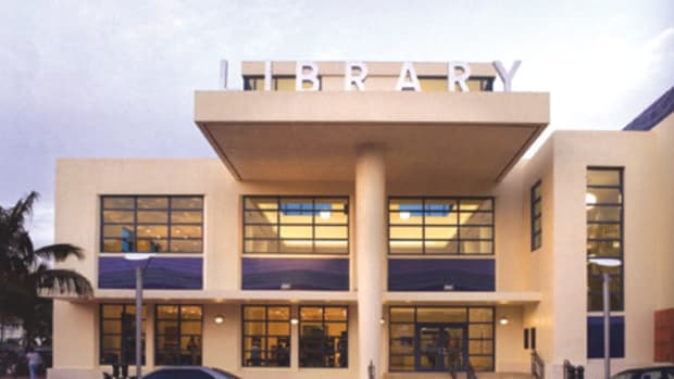 The Miami Beach Library is a 45,000-sq.ft. building of Florida keystone, terra cotta and pink stucco rendered in the relaxed Modernism of its Art Deco surroundings. The ground floor contains a 140-seat auditorium, the main library collections and a café that opens onto a walled garden with a fountain.