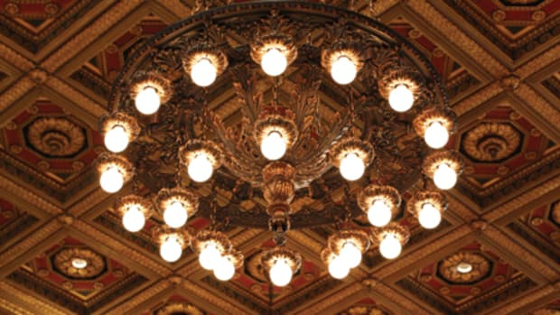 The original chandeliers in the Great Hall were refinished and restored; new LED uplight spots were added.