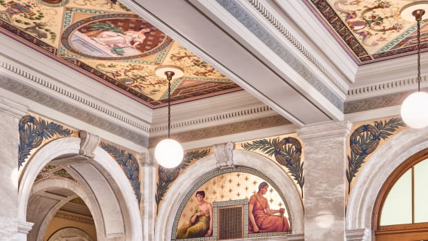 Neo-classical ornamented entablature and murals
