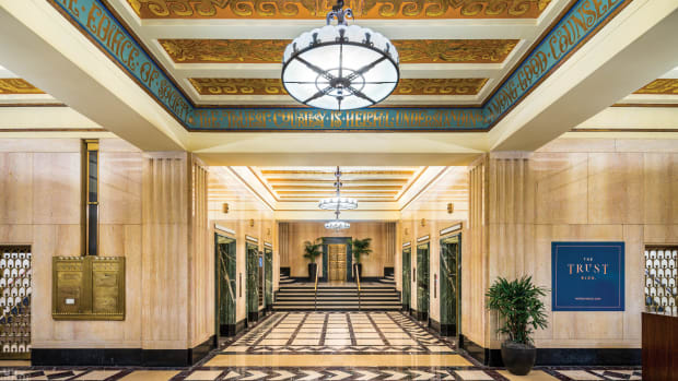 travertine stone, 1928 Trust Building lobby, Art Deco lobby