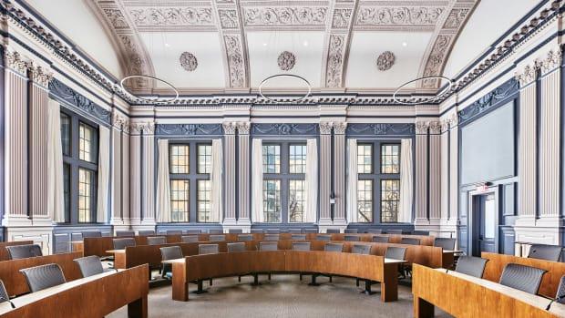 horseshoe shape classroom, Carey Law School, VMA