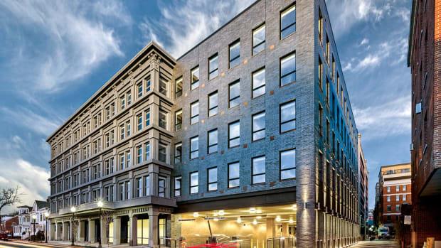Marchetto Higgins Stieve, The Metropolitan Lofts, black-brick facade