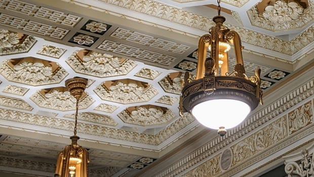 Cast aluminum of original plated plaster lights at Oklahoma Supreme Court