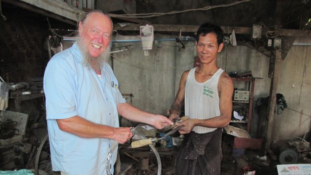 The thrill of touching the master blacksmith's work for the first time. Do I look happy?