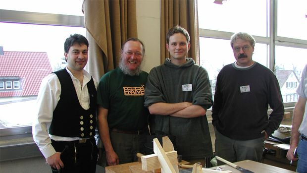 From left to right Filippo Compagnon (Zimmerman Instructor), me, Carson Christian (my son) and Lon Tyler (TFG member and friend) at the compound roof framing class we participated in at the Gewerbe Akademie in Rotweil, Germany, in 2003. Hands-on learning German style!