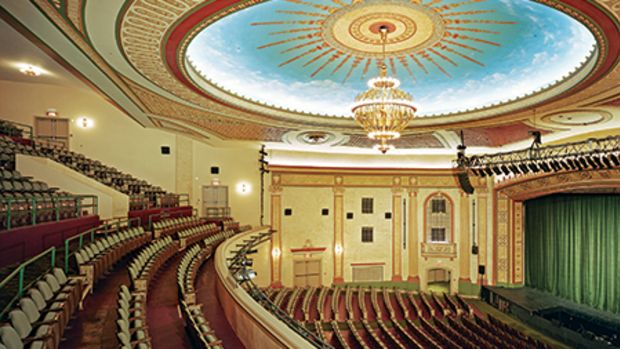 Mills + Schnoering restored the 1926 Count Basie Theatre in Red Bank, NJ, in two phases. The interior work included the restoration of plaster work and decorative painting by EverGreene, lighting, the auditorium and the lobby. Photo: Brian Rose