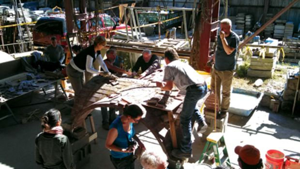 At a two-day workshop held at A. Ottavino stone yard during the APTI conference in October 2013 in NYC, a team of craftspeople built two Guastavino vaults. Here they are working on vault #1. All photos: Ken Follett unless otherwise noted