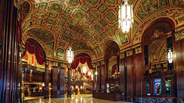 The elegant restored lobby of the Kings Theatre now welcomes guests to various types of entertainment. Photo: Whitney Cox