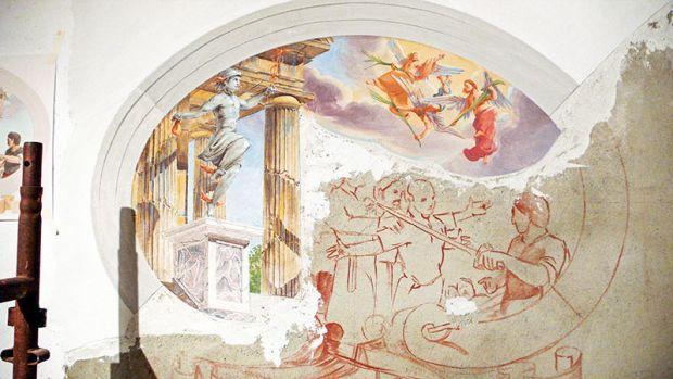 half-finished fresco