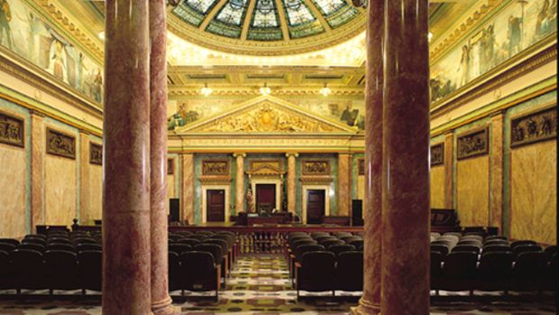 The sumptuous Allen County Courthouse in Fort Wayne, IN, makes copious use of Marezzo scagliola, as seen here in the columns and side panels of the Circuit Courtroom. Hayles did scagliola restoration for the building's centenary celebration in 2002.