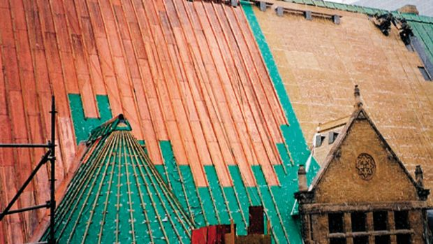 Heather & Little's restoration of the Toronto Old City Hall required 113,900 sq.ft. of copper roofing, cornices, gutters and sheet-lead work. Photo: Heather & Little Limited