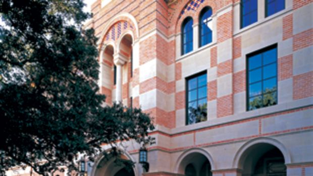 The main entrance to the Humanities Building (2000) at Rice University, Houston, TX, shows Greenberg adapting the Byzantine-Romanesque architectural language to achieve compatibility with adjacent buildings designed by Ralph Adams Cram in 1910-1916. Photo: Wade Zimmerman