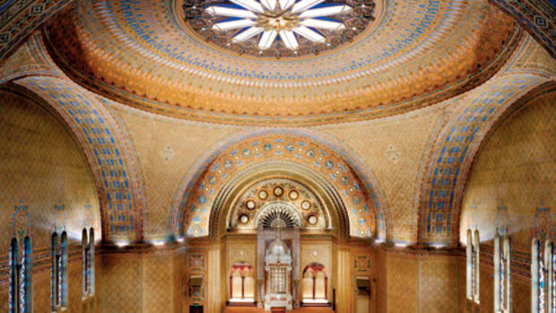 The complex decorative stenciled patterns of Rodeph Shalom Synagogue of Philadelphia, PA, executed on fabric, were cleaned and conserved by Canning Studios, whose artisans also in- painted and duplicated patterns in adjacent areas. Photo: courtesy of Canning Studios