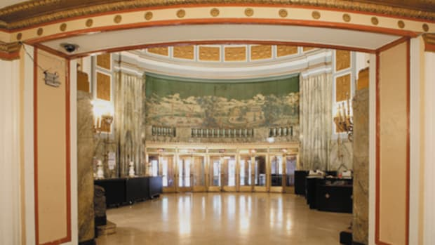 The grand foyer features a custom mural at the west wall above the entry doors. The original – designed by Rambusch Studios – was either removed or never installed. The Classical-style pastoral scene was re-created by New York City-based muralist Mason Nye from a 1930 black-and-white Rambusch advertisement.