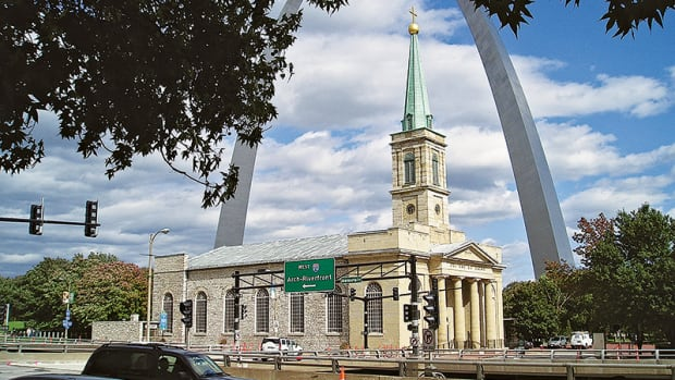 The historic Old Cathedral in St. Louis has been restored by Mackey Mitchell Architects and Musick Construction Co., the same two firms that did the last renovation on the building in the 1960s. It was the only building left standing when the area was cleared to make way for the national park and the arch.