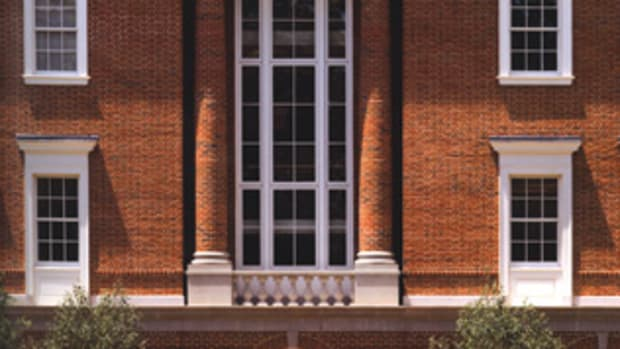 """Stern's views on """"buildings as brands"""" are epitomized by the work his firm has done at the University of Virginia. Thomas Jefferson established the university's architectural brand when he selected the Classical language and red brick for the institution's first buildings. The brand was diluted in the 20th century by Modernist intrusions on campus. Stern's Bavaro Hall at UVA (2010) uses red brick and Classical forms to help re-establish the university's special character."""