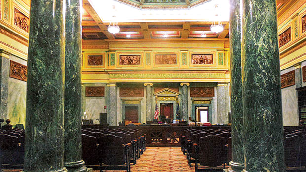 The Superior Court Room #1 in the Allen County Courthouse, Fort Wayne, IN, makes extensive use of Marezzo scagliola for columns, panels and moldings. Hayles was part of a team that restored damaged scagliola for the building's centennial celebration in 2002.