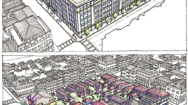 """The proposed new """"Texas donuts"""" or lined parking garages (top) compared with the Charleston-style block. For more, visit CivicConservation.org/casestudy."""