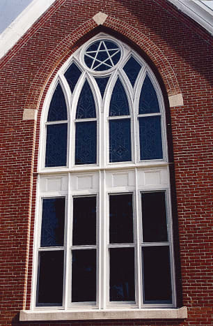 The United Methodist Church in Knightstown, IN, installed Allied One Lite (AOL) storm windows from Allied Window.
