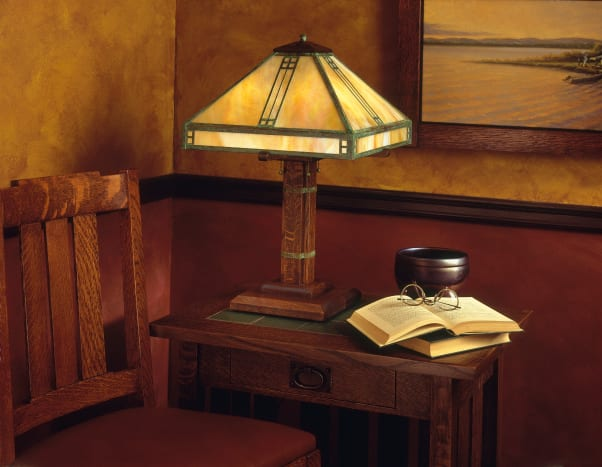 Arroyo Craftsman created this Prairie style 23 inch tall and 15 inch wide Verdigris Patina Table Lamp with a Gold White Iridescent shade.