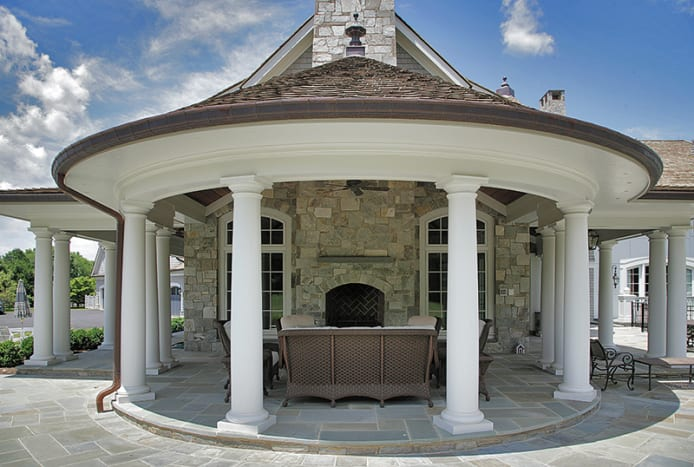 This outdoor seating area features crown columns in fiberglass, which were distributed by Architectural Products of New Jersey. Photo: courtesy of Architectural Products by Outwater
