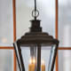 This English Gas Lantern shown with a bronzed copper finish and standard pendant cluster reflects the craftsmanship of the Scofield collection by Heritage Metalworks (photo by Jody Doyle).