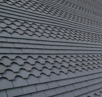 15 Northern Roof Tiles English shingle tile in Staffordshire Blue with rows of Fishtail ornamental tiles