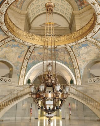 C. Restored Guth Rotunda Chandelier at Missouri State Capitol