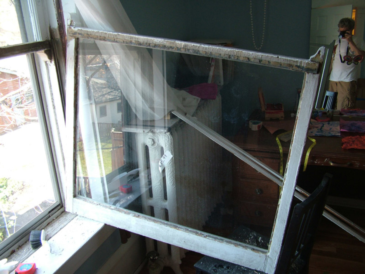 1898 double hung window being repaired