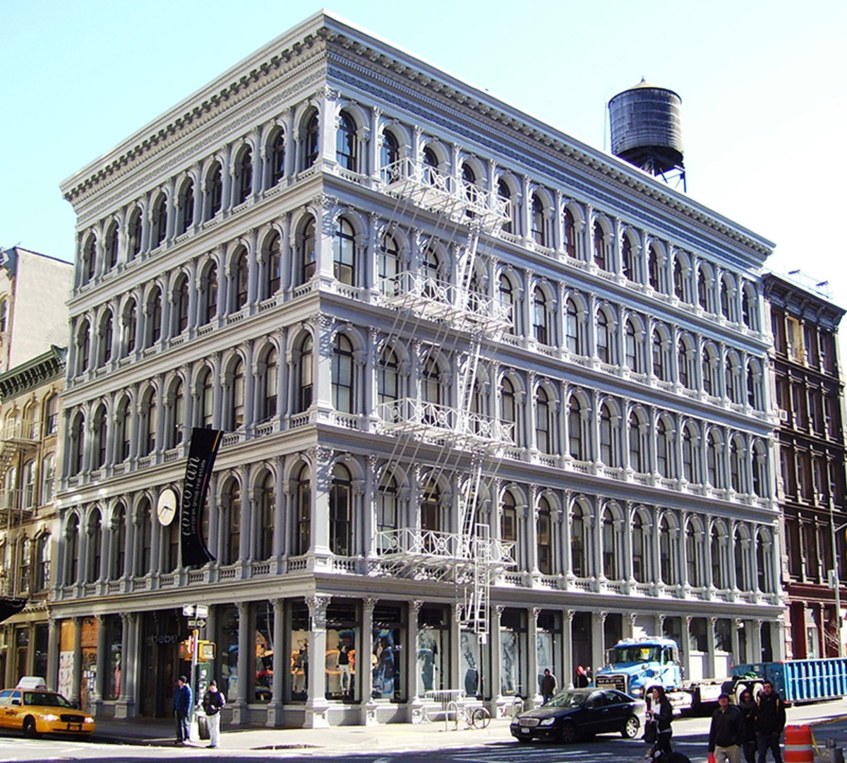 Prefab buildings don't have to be cold and dreary. The façade of this 19th-century commercial building in New York's SoHo District is constructed from modular cast-iron units, and possesses the visual richness and complexity that people still find pleasing.