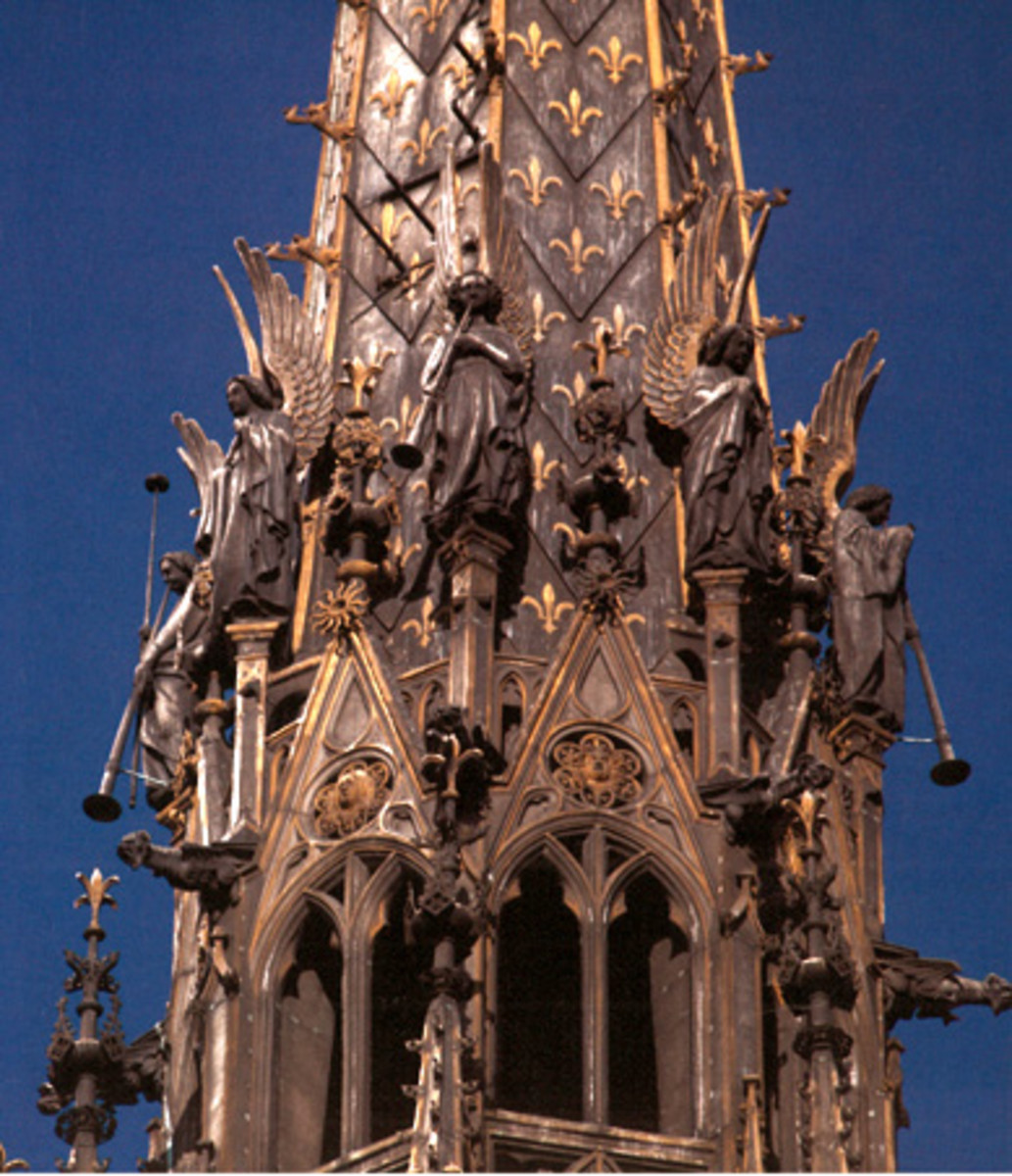 """The Angles of the Sainte Chapelle steeple were the second hardest to photograph,"" says the author. She used a 300mm lens to capture many of her images and for this one she carried her ladder on a Paris bus. The steeple was added in the mid-19th century to the 13th-century church."