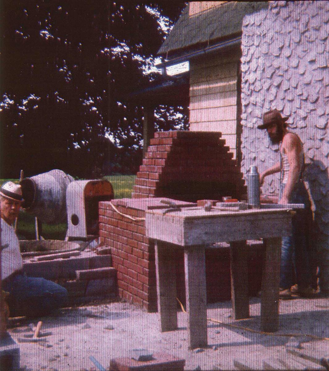 Stonemason mentor on the left, Marshall Pruitt. On the right, a younger Ken Follett.