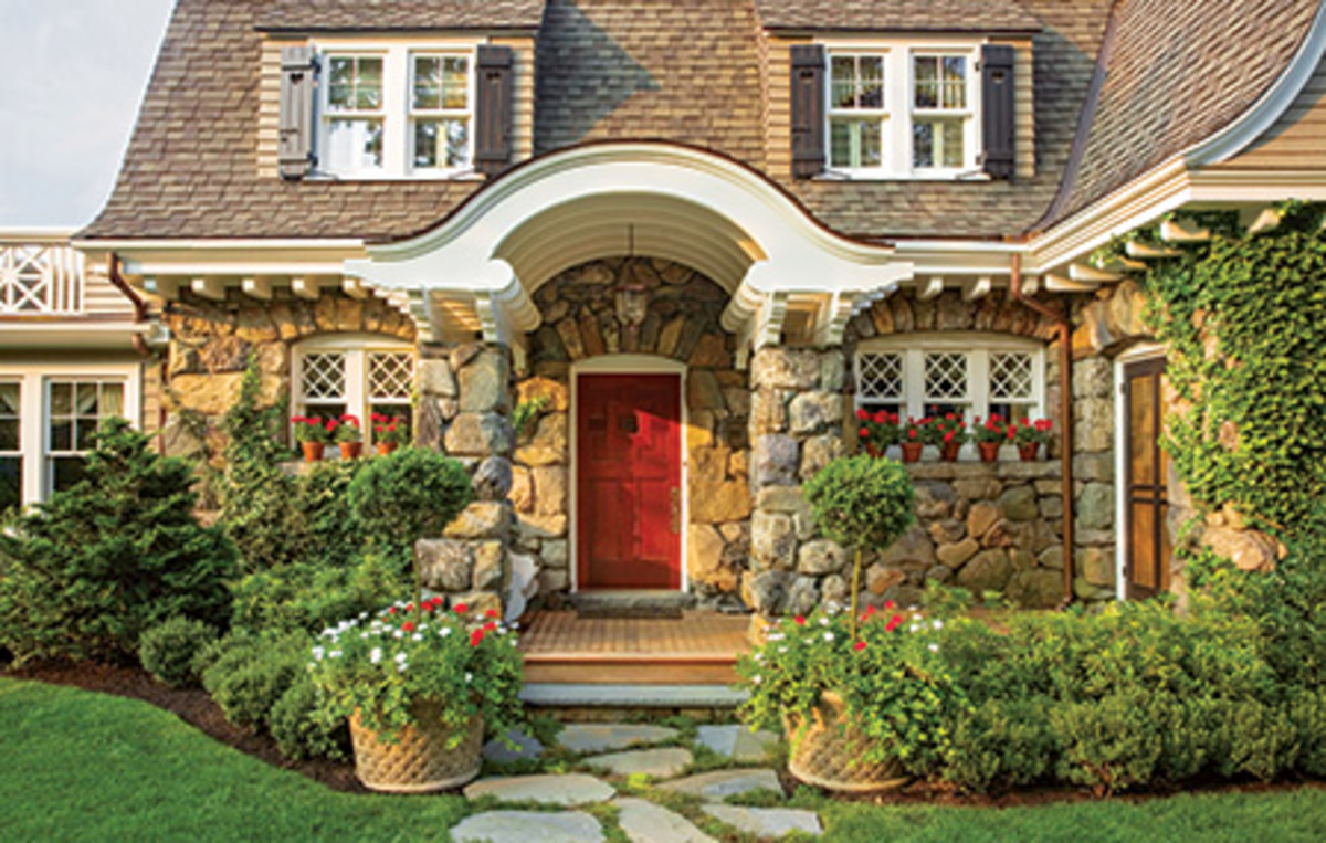 A strikingly bold scarlet door