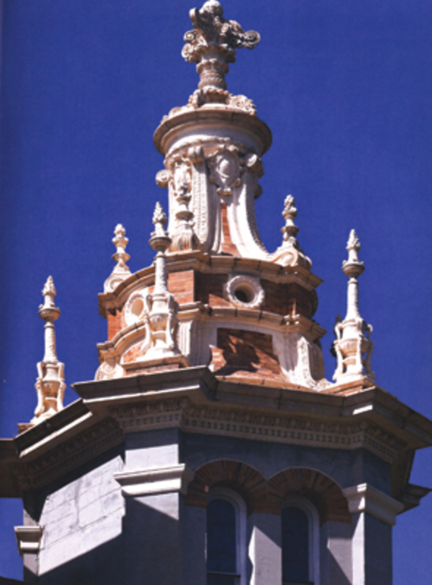 Though best known today for their Beaux-Arts Classicism, Carrère & Hastings were comfortable with many traditional styles, such as this exuberant top to a bell tower on the Flagler Memorial Church, St. Augustine, FL, which they rendered in a Spanish Renaissance style (1890).