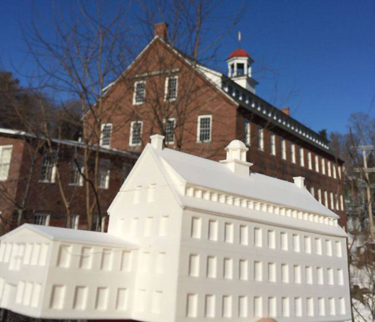 Students in the Windsor, Vermont High School Technical Education Class prepared this 3d model of the American Precision Museum in 2015.  They learned about history and architectural design with this project.  The museum is housed in the historic Robbins, Kendall and Lawrence Armory. Photo: Courtesy American Precision Museum