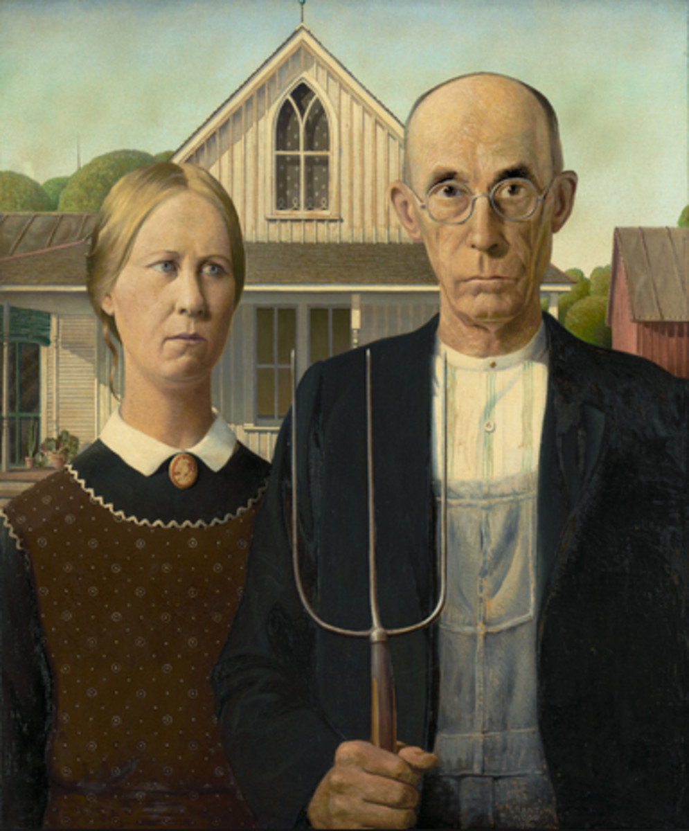 """""""American Gothic"""" (1930) by Grant Wood (Art Institute of Chicago)"""