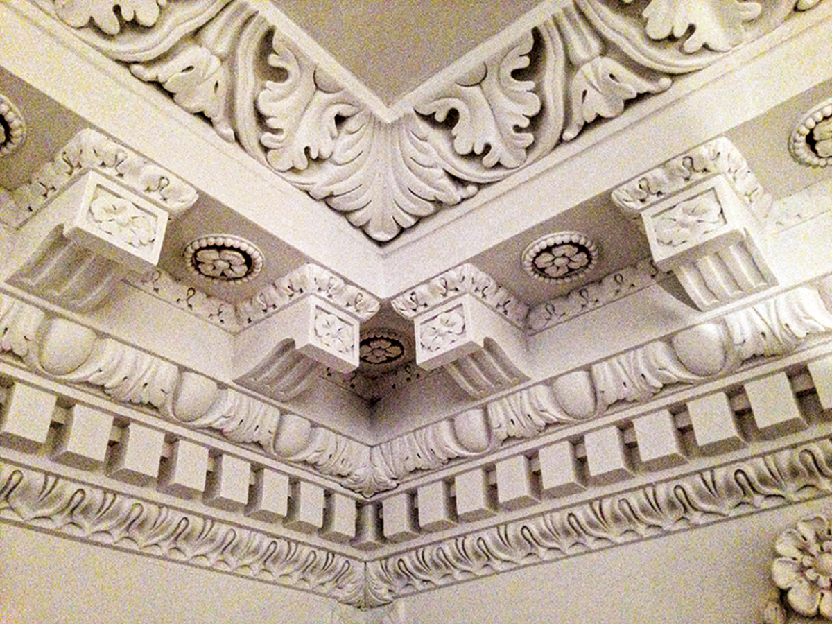 Canning and Felber worked together to restore the ornamental plaster for the old senate chamber at the Maryland State House.