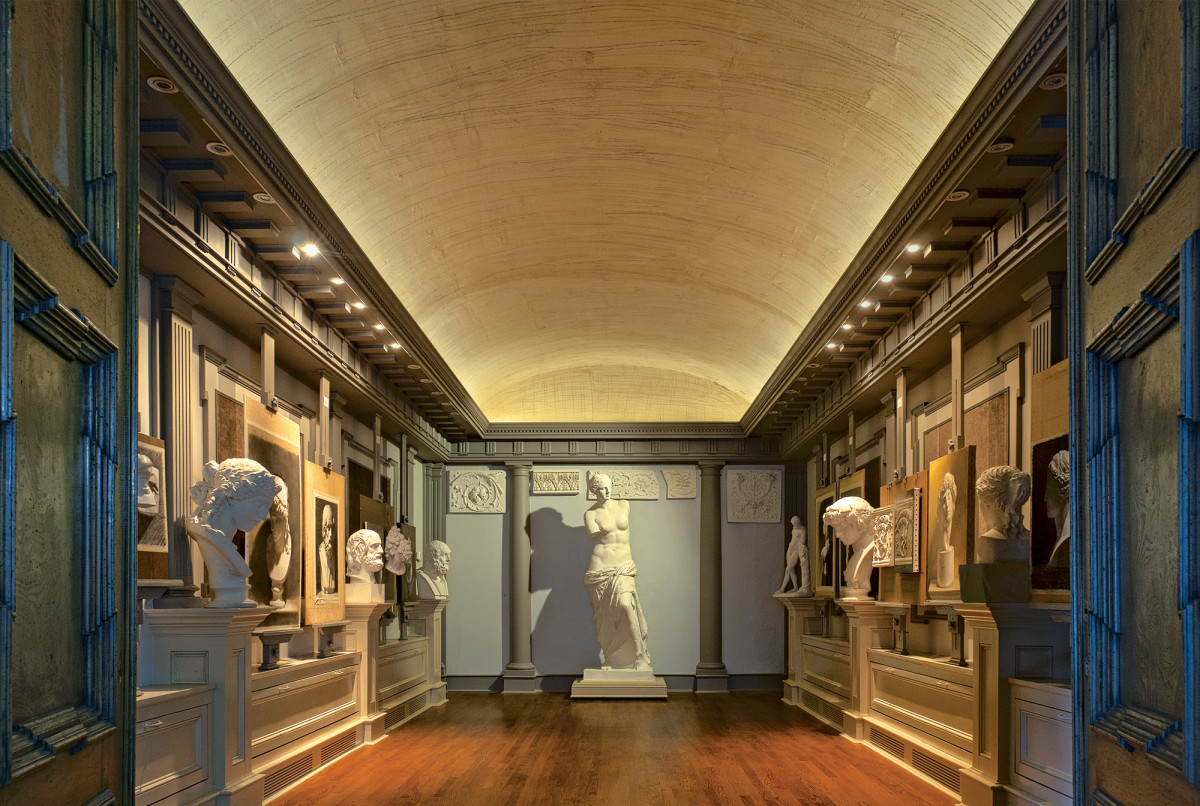 A small retail space was renovated into the Academy of Classical Design in Southern Pines, NC.