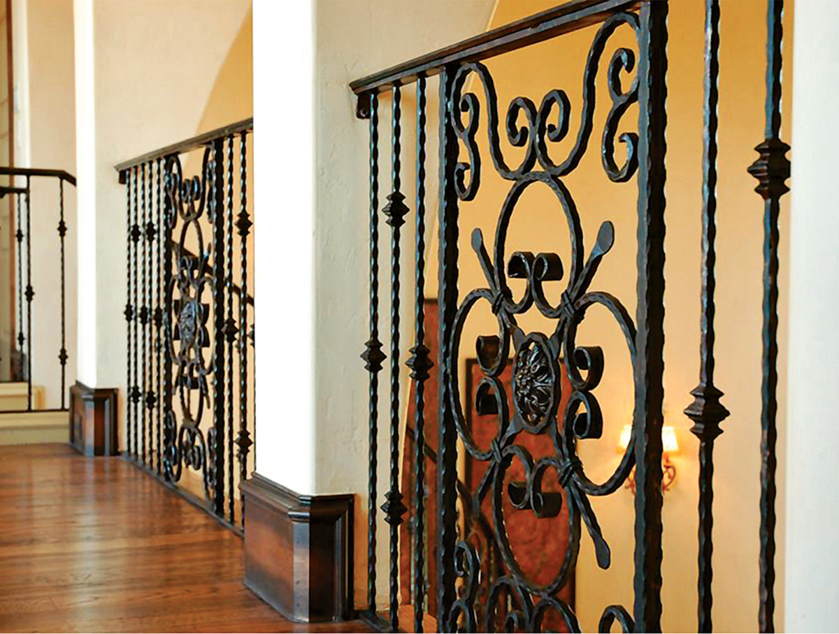 Metalwork such as this traditionally styled railing fabricated by King Architectural Metals were often featured.