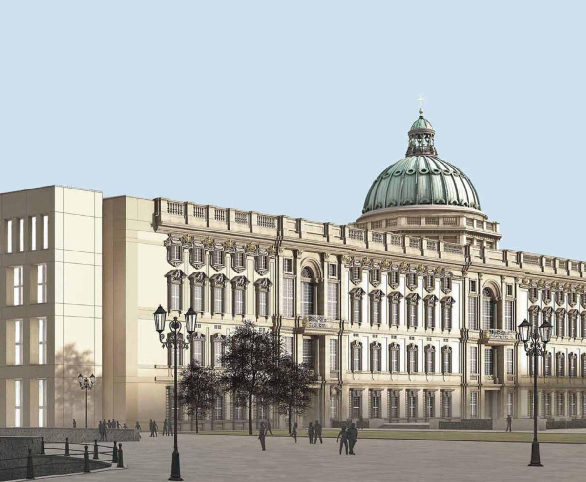 The original Berlin palace of Hohenzollern royalty was demolished by the East German regime in the 1950s. The historic exterior is now being rebuilt as a cultural landmark; the new interior will function as a combined museum and event space.