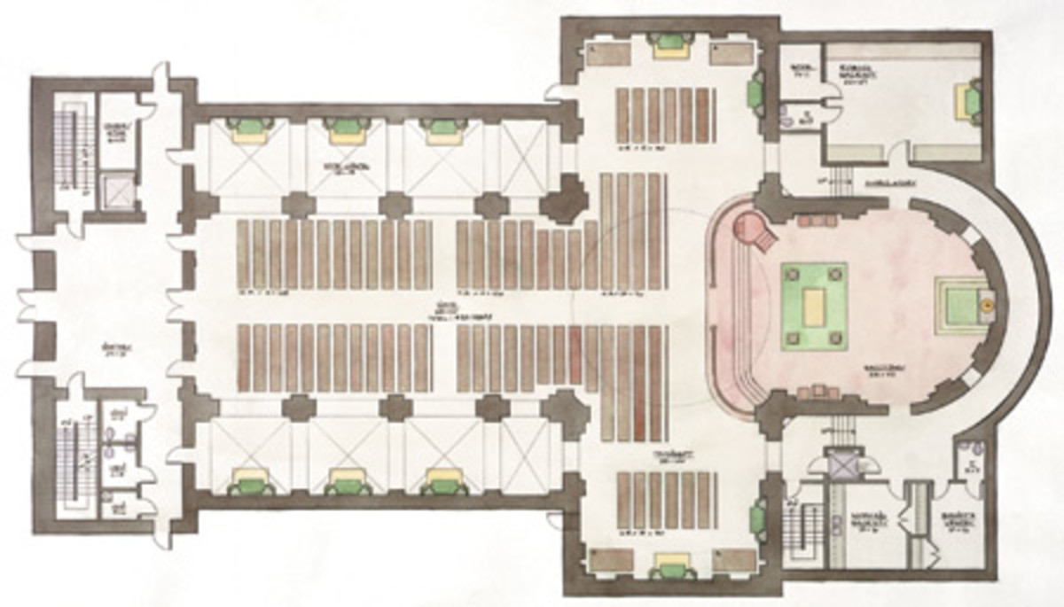 Inspired by traditional churches, the floor plan is a cruciform plan with a large narthex and an ambulatory connecting the nave to two sacristies. The interior measures 146 ft. long by 95 ft. wide. It typically seats 450, but with additional chairs, can seat up to 650 people.