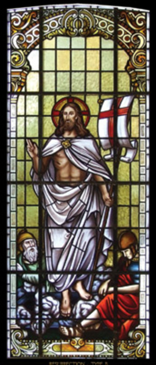 This stained-glass window showing the Resurrection is one of 31 original windows created by Rohlf's Studio for Our Lady of Guadalupe. It is approximately 44 x 122 in.