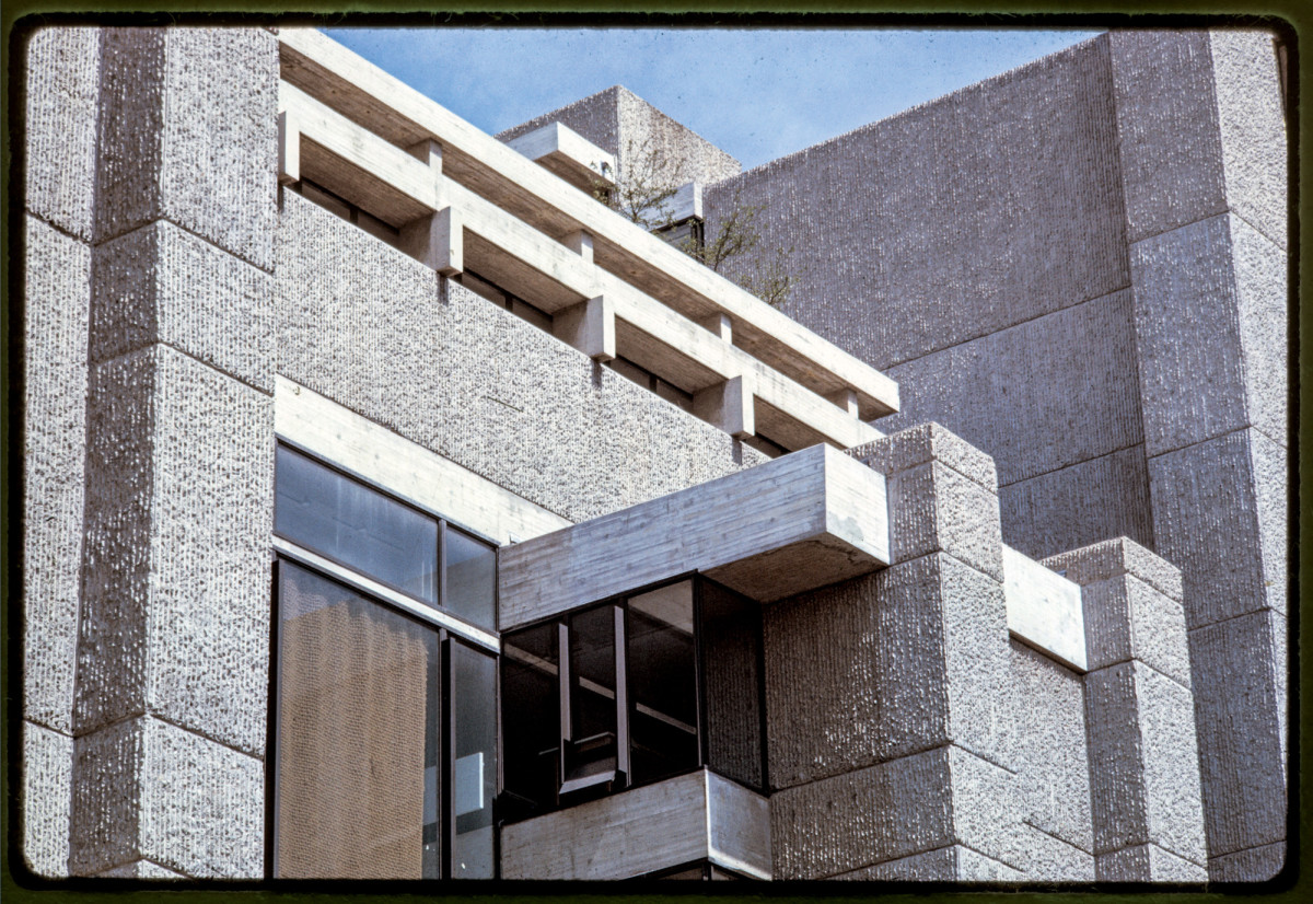 Designed by Paul Rudolph, the Art and Architecture Building at Yale in New Haven, CT, is considered an early example of Brutalism. It was completed in 1963.