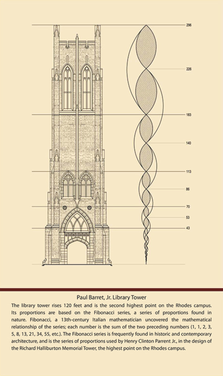 Like the existing Halliburton Tower, the tower in the new library incorporates proportions based on the Fibonacci series. Discovered by Leonardo Fibonacci, a 13-century mathematician, the series reveals that each number is the sum of the two preceding numbers.